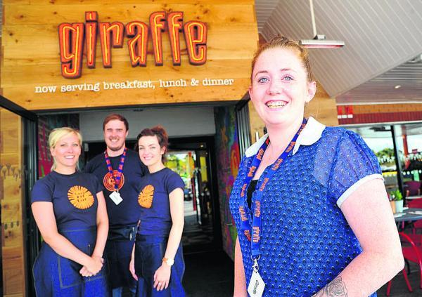 New restaurant Giraffe is opening at Tesco in Ocotal way. Pictured, left to right, are Beth Mansfield, Chris Ody, Emily Robins and general manager Georgina Earp
