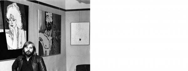 Brian Hamley with some of the nude and semi-nude artwork at the Wyvern Theatre in 1975 that so outraged some members of the  theatre's club who unsuccessfully demanded their removal