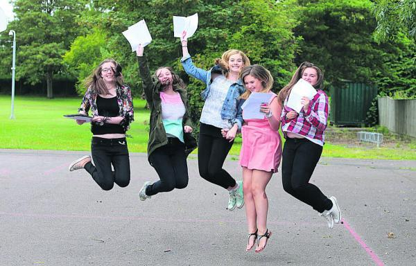 Pupils from Kingsdown School celebrating their GCSE results on Thursday morning. Left to right, Lauren Waters, Kiera Beardsell, Lucy Jenkins, Mairead O'Shea and Hannah Luker