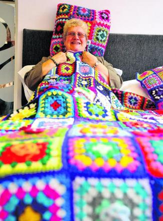 Jane Young has knitted a blanket to raise money for Help for Heroes