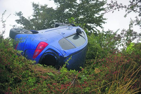 The car which came off the A361 from Wroughton and landed in a hedge