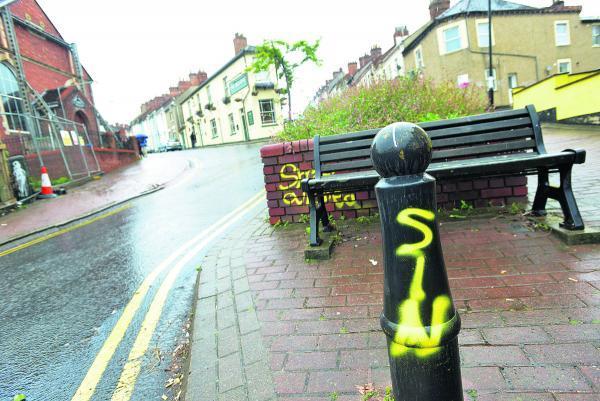 Graffiti and was sprayed along Cross Street and behind the new Morrisons