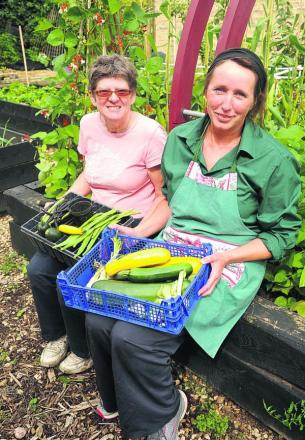 Phyllida Richards, Twigs' senior supervisor, right, with Steph Perry at the Manor Garden Centre. The charity  received £3,000 grant in 2010
