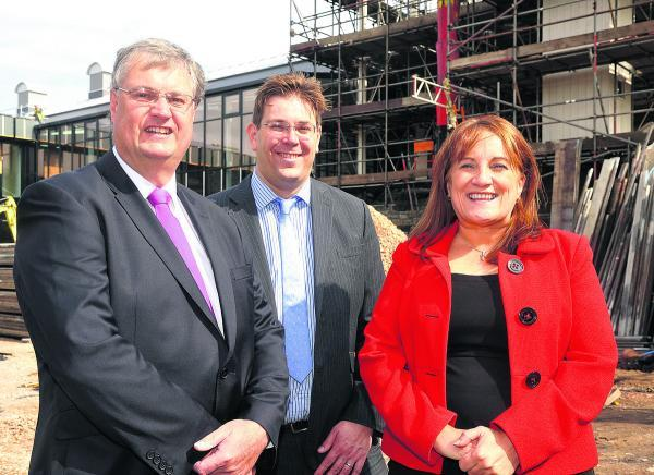 From left, council leader David Renard, UTC Swindon director Paul Holmes and principal Angela Barker-Dench