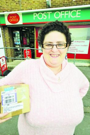 Employee Barbara Linton at Upper Stratton Post Office, which is having a makeover