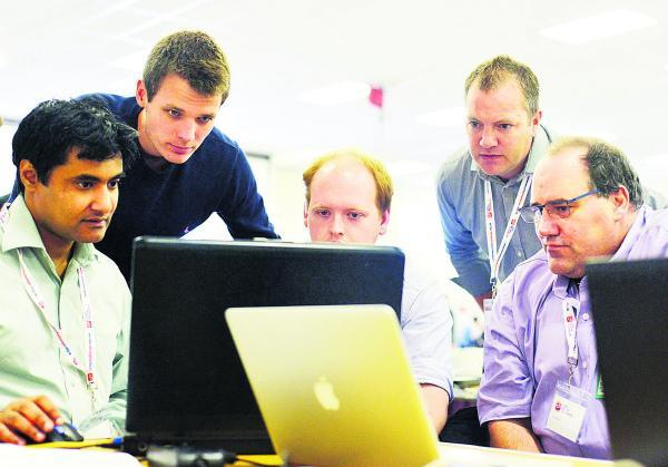 Fauzan Mirza, Jake Badman Rob Smith, Martin Greenaway and Scott White at the cyber camp at the Defence Academy