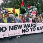 Swindon Advertiser: No to Nato protesters march in Newport, south Wales