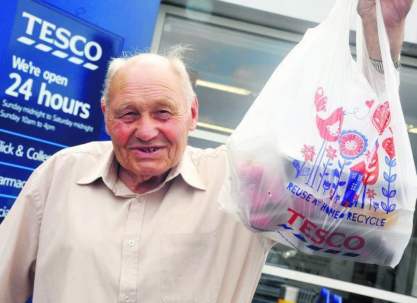 Titch Ockwell, 86, who wants to find the Good Samaritan who helped him with his shopping at Tesco in Ocotal Way