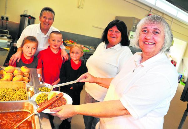 Mountford Manor School kitchen has had a complete overhaul. From left, Ruby, Joy Turner, George, Charley, Sonia Warren, Alison Johnson