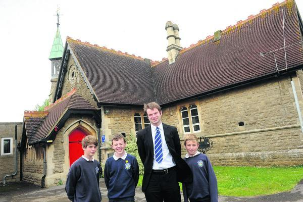 South Marston Primary headteacher Luke Maddison with some of the school's pupils