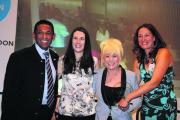 Elizabeth Ewart, right, with, from left, Kishor Shah, Katie Metcalfe and Barbara Windsor