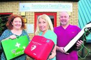 Jayne Hall, centre, with Freshbrook Dental Practice colleagues Debbie Reid and Brendon Ball