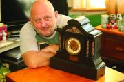 n History lecturer Martin Thomas with the Peter Chambers Clock which he found on eBay and acquired in Accrington