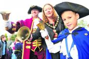 From left, Wootton Basset  town crier Fred Ferris, Mayor Sue Hughes and pu