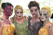 Students from New College Swindon dressed to thrill when they starred as Zombie Brides and strolled around the Brunel Centre on Halloween. From left, Scarlett Mortimer, Robyn Jefferies, Anna Liston and Cara Thresher
