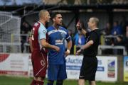 Chippenham Town's Matt Coupe (middle) looks dumbstruck as both he and Chesham United defender Darren Purse are sent off (Picture: Robin Foster)