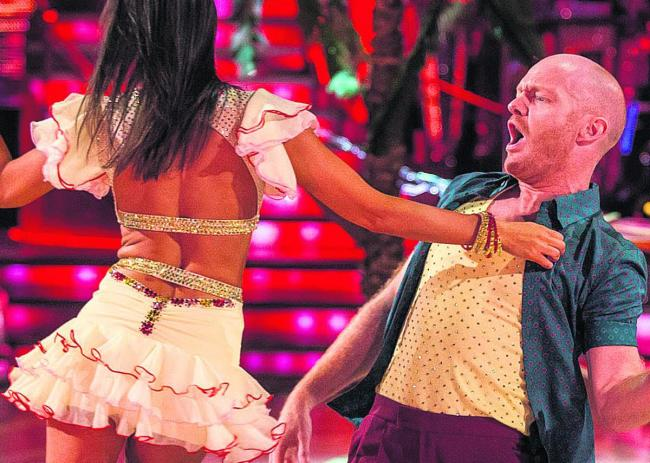 Jake Wood and Janette Manrara dancing the salsa in this year's Strictly Come Dancing