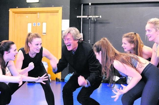 Nigel Havers and and members of the cast prepare to put the frighteners on Swindon for the opening night of Dick Whittington