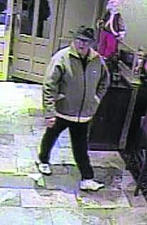 The CCTV image of the man police want to question in connection with the incident