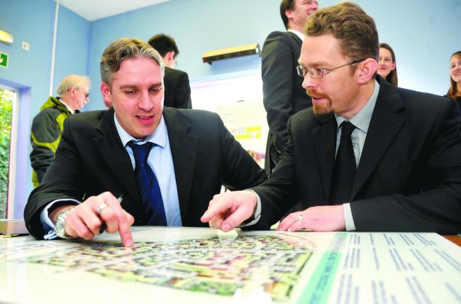 Ian Francis, left, and Mark Simpson at Taylor Wimpey's presentation on the Ridgeway Farm development back in 2013