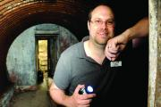 Archaeologist Tom Sykes is pictured here in an Auxiliary bunker. It is believed that hundreds of underground Auxiliary bolt-holes still exist undetected around the country, many of which will never be found