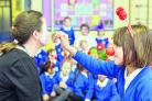 Pupils enjoy the Red Nose Day preview at Southfield Junior School	Pictures: THOMAS KELSEY