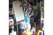 Author and illustrator Steve Antony at work in his Old Town studio