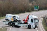 The Ford Transit van is removed from the A419. Picture: STUART HARRISON
