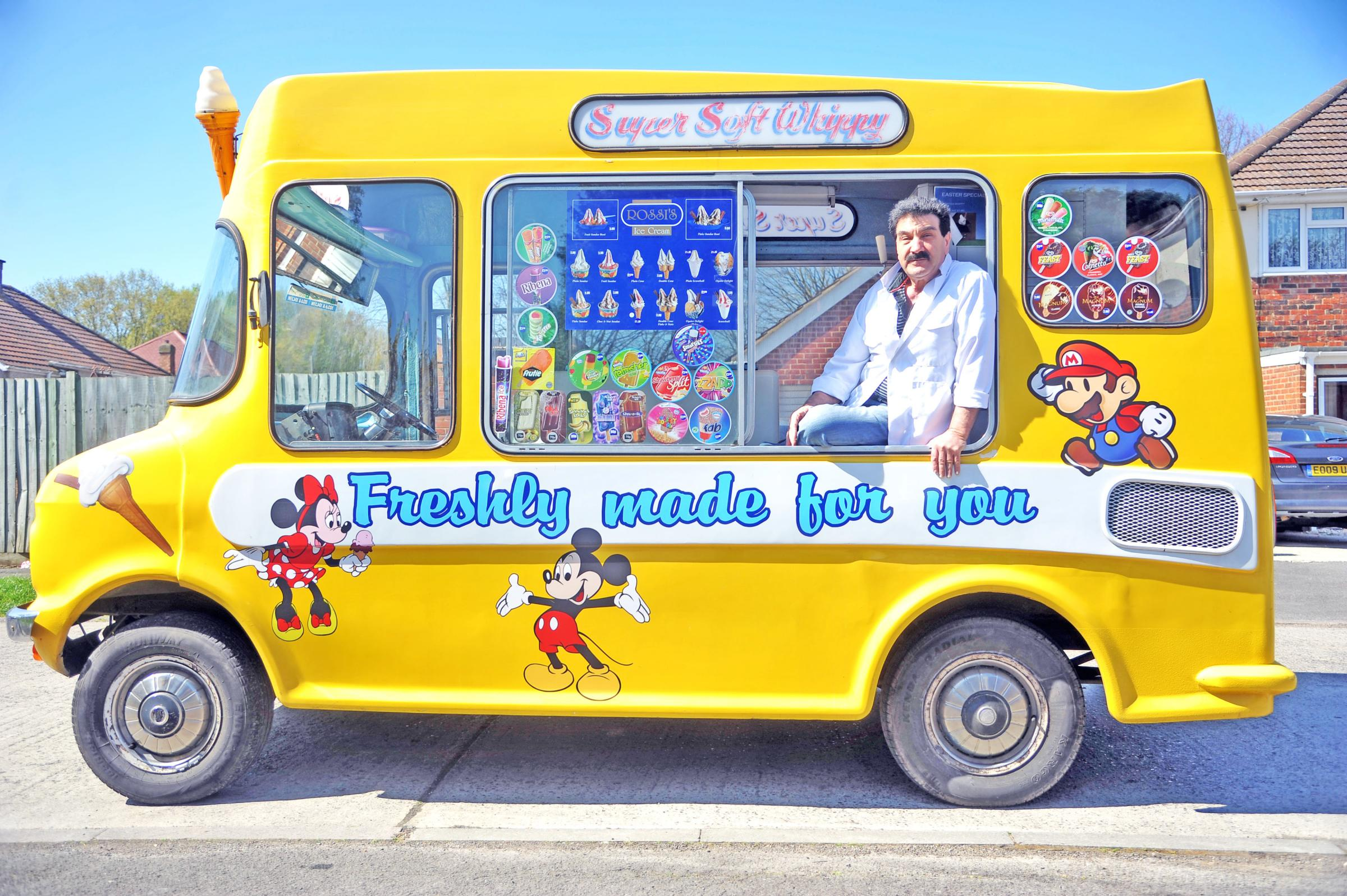 Mario Bretti, in the ice cream van he has been driving since the early 1970s