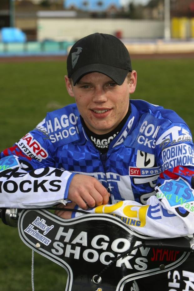 Swindon Robins rider Edward Kennett