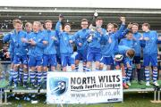 Wroughton Under 15s celebrate their cup final win over Wootton Bassett Town. Pictures: VICKY SCIPIO