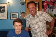 New Marine signing Jacob Davidge, with chairman Jez Webb (Picture: JEFF YOUD)