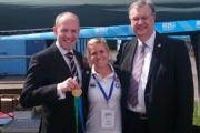 North Swindon MP Justin Tomlinson, Bristol and England rugby star Danielle Waterman, who scored a try in the world cup final last year, and Swindon Borough Council leader David Renard at the fourth Swindon School Games