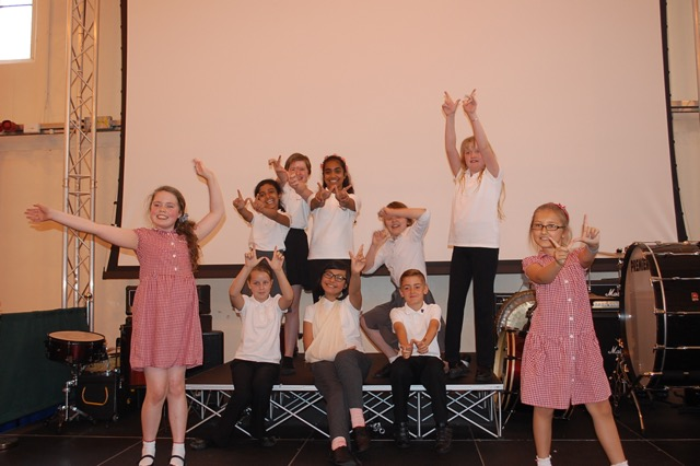 Westlea Primary School pupils performing on the theme of children's rights.