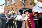 From left, Royal Wootton Bassett mayor Ian Ferries, publicans Jon Pennycott and Phil Thompson, manager Kirstie Mingham, and Town Crier Owen Collier at the official reopening of The Cross Keys