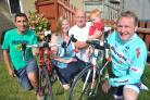 Steve Bell is doing a charity bike ride from Bournemouth to Swindon in aid of Ronald McDonald House which helped his son when he was seriously ill. From left, David Gower, Abigail Bell, Steve Bell, Jacob Bell and Paul Hughes