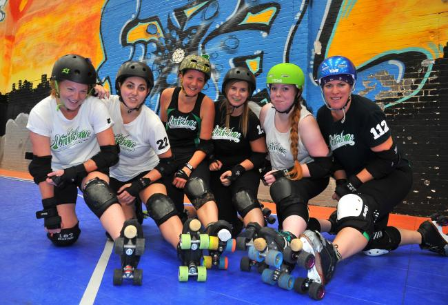 Hayley Jane, Jenny Skelton, Michelle McKenny, Belinda Jones, Nicola Botley and Jadine Webb at the roller derby boot camp