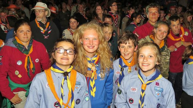 Volunteer leader Abby, with Scouts Anna, Darla and Daniel, at the Haarlem Jamborette