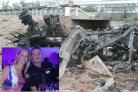 Nathan Thompson and wife Aimee; the lorry involved in a catastrophic chemical explosion
