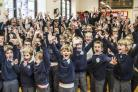 South Marston Primary pupils celebrate being top of the class. Picture: THOMAS KELSEY