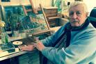 "Phil King, 78, pictured earlier this month in the studio he concocted at his Pinehurst home with ""bits of junk and scrap"" and where he painted countless scenes of what he likes to refer to as Old Swindon"