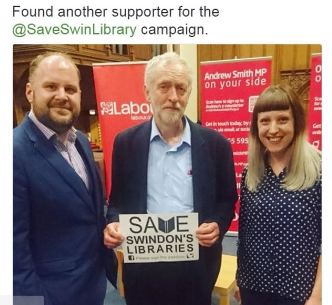 Labour Party leader Jeremy Corbyn with Swindon councillor Jim Robbins and South Swindon Labour Party secretary Hayley Jackson