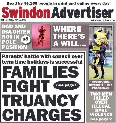 The front page of today's Swindon Advertise