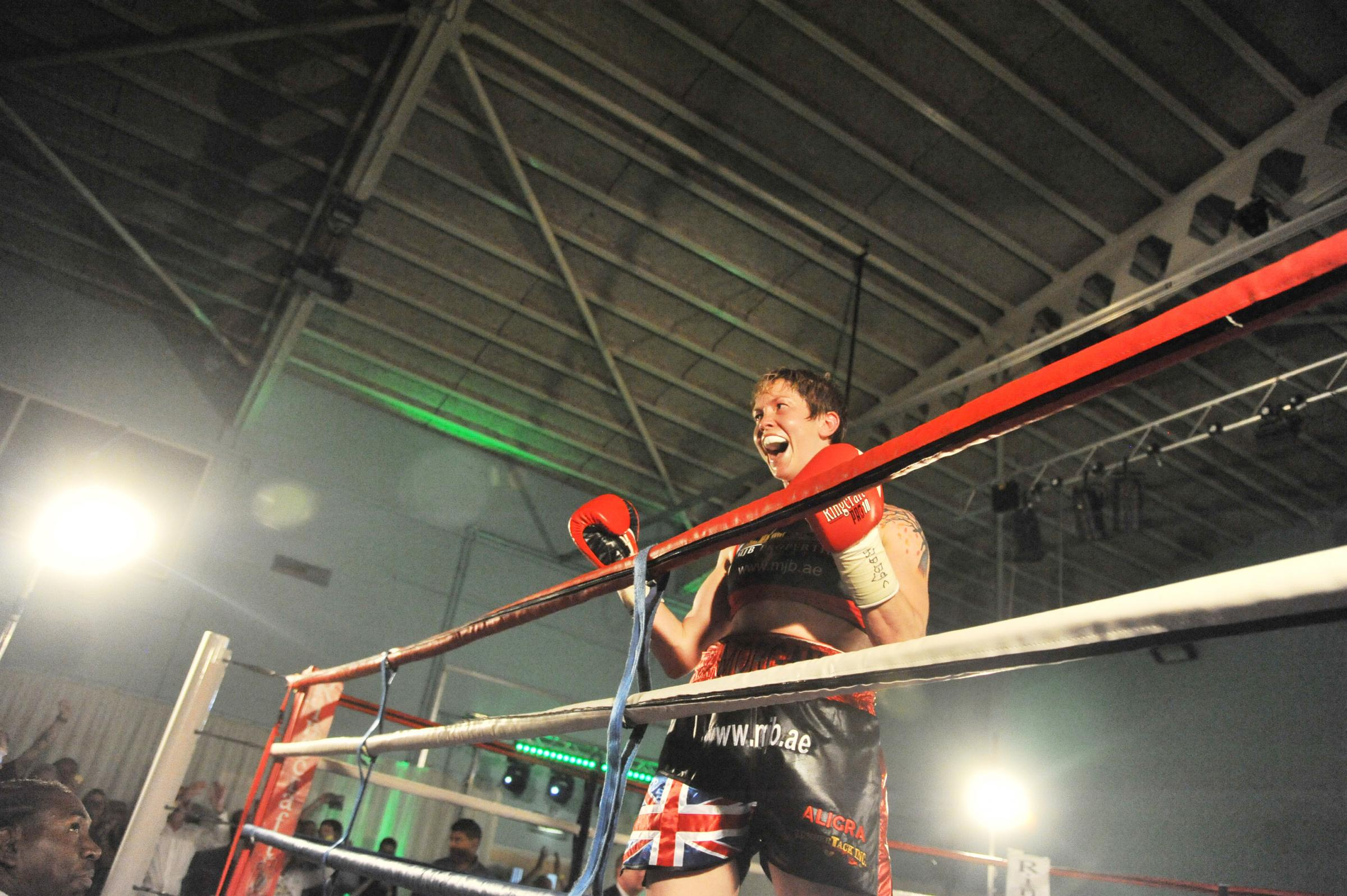 Kelly Morgan celebrates after winning the WBC Silver middleweight crown