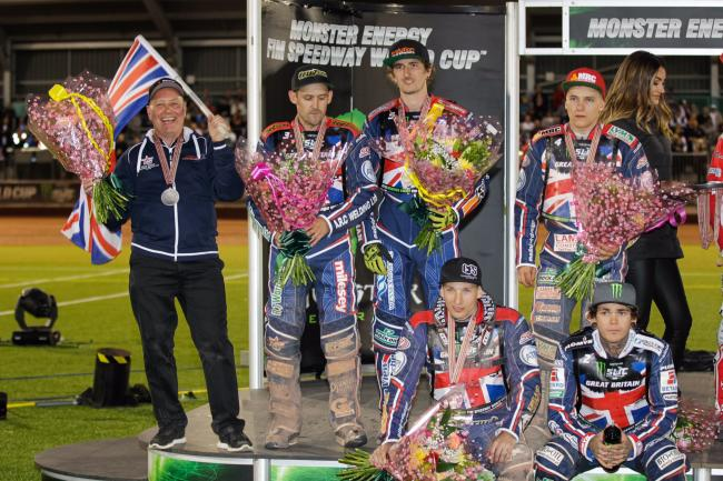 Alun Rossiter (left) with the Great Britain team after claiming silver at the Speedway World Cup last summer