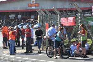 The picket line outside Royal Mail's sorting office at Dorcan today. Picture by Dave Cox