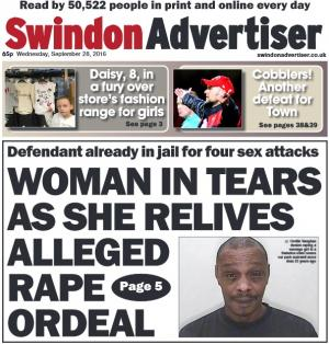 Swindon Advertiser: Today's front page. A mum who says she was raped as a teenager Orville Vaughan has denied making it up. Find out more here