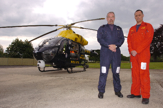 The Air Ambulance based at Devizes. Pictured are unit executive and police observer Adrian Wells and paramedic Richard Miller
