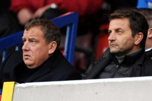 Swindon Town chairman Lee Power (left) and director of football Tim Sherwood
