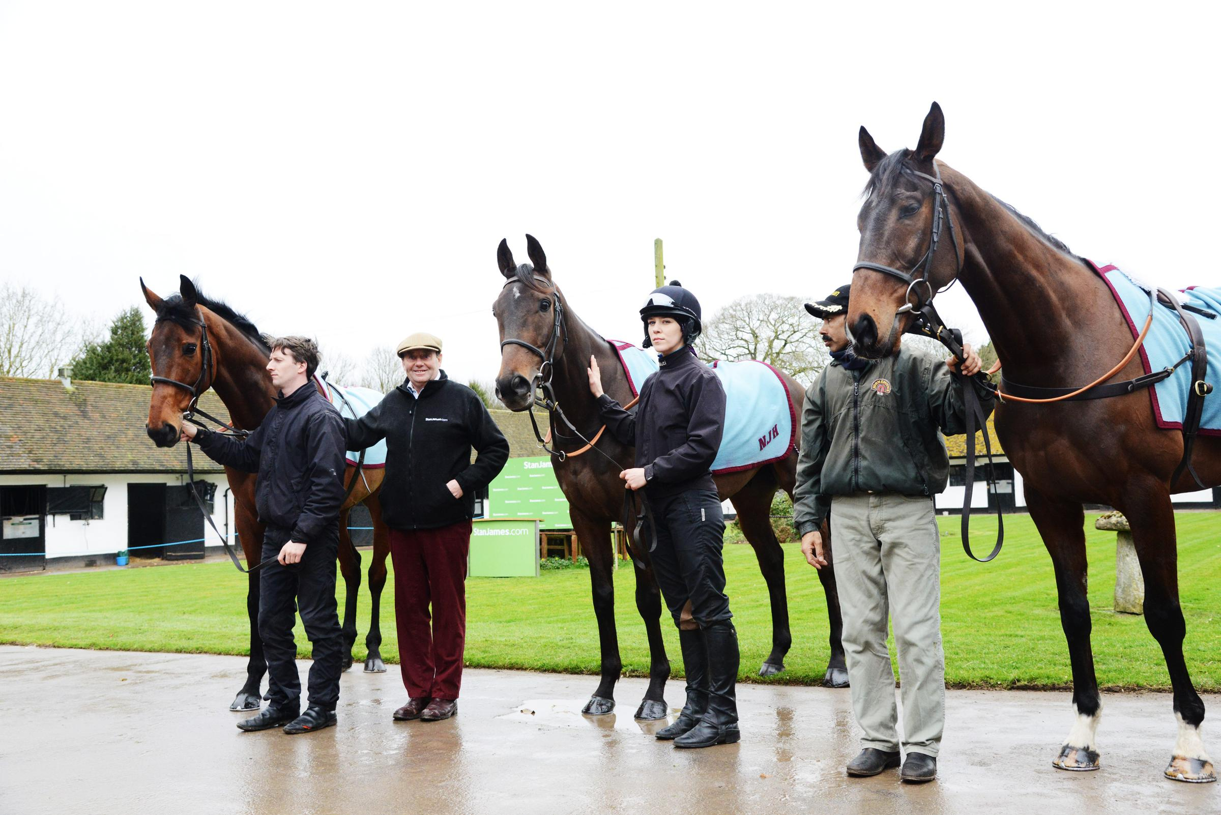 Nicky Henderson with Brain Power and Buveur D'Air and My Tent or Yours PIC: Tom Kelsey